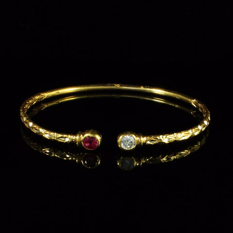 125 West Indian Bangle with Synthetic Stones Ruby and White CZ Handmade in 10K Yellow Gold
