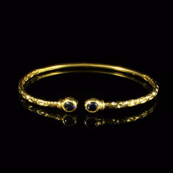 125 West Indian Bangle with Synthetic Stones Sapphire Handmade in 10K Yellow Gold