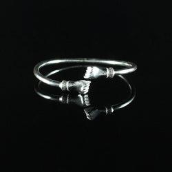 150 West Indian Bangle with Fists Plain Polished Handmade in 925 Sterling Silver