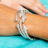 150 West Indian Bangle with Dolphin and Solid Ball Handmade in 925 Sterling Silver