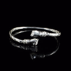 150 West Indian Bangle with Fists and Calypso Pattern Handmade in 925 Sterling Silver