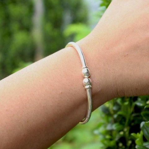 150 West Indian Bangle with Solid Ball Plain Handmade in 925 Sterling Silver