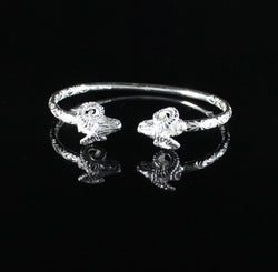 150 West Indian Bangle with Aries Ram Head and Calypso Pattern Handmade in 925 Sterling Silver