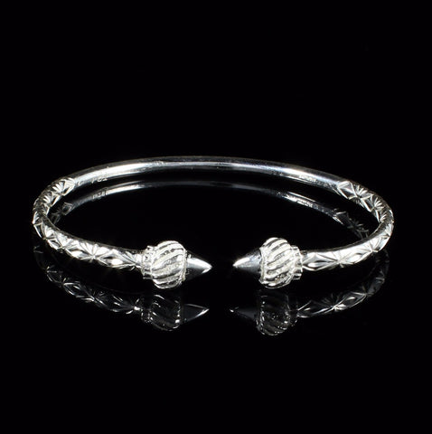 150 West Indian Bangle with Taj Mahal Calypso Pattern Handmade in 925 Sterling Silver