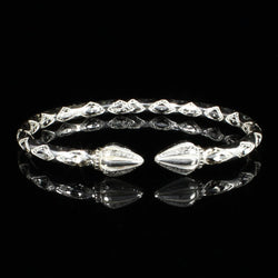 180 West Indian Bangle with Cocoa Pods Complete Pattern Handmade in 925 Sterling Silver