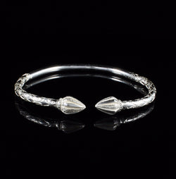 180 West Indian Bangle with Cocoa Pods Calypso Pattern Handmade in 925 Sterling Silver