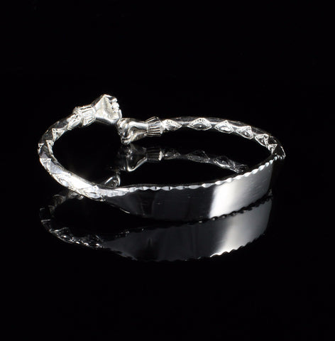 Engravable 180 West Indian Bangle with Fists Handmade in 925 Sterling Silver