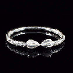 230 West Indian Bangle with Cocoa Pods and Bamboo Pattern Handmade in 925 Sterling Silver