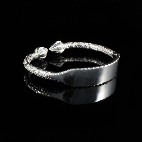 Engravable 230 West Indian Bangle with Cocoa Pods and Bamboo Pattern Handmade in 925 Sterling Silver