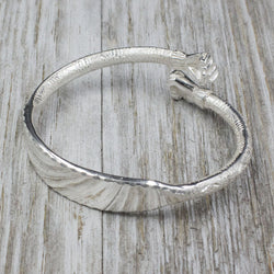 Engravable 230 West Indian Bangle with Fists and Bamboo Pattern Handmade in 925 Sterling Silver