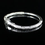 230 West Indian Bangle with Fists and Bamboo Pattern Handmade in 925 Sterling Silver