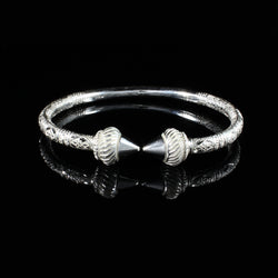 230 West Indian Bangle with Taj Mahal and Bamboo Pattern Handmade in 925 Sterling Silver