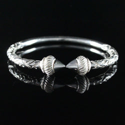 230 West Indian Bangle with Taj Mahal and Chisel Pattern Handmade in 925 Sterling Silver