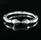 300 West Indian Bangle with Cocoa Pod and Traditional Pattern Handmade in 925 Sterling Silver