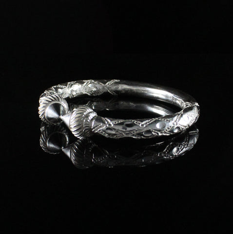 300 West Indian Bangle with Taj Mahal and Traditional Pattern Handmade in 925 Sterling Silver