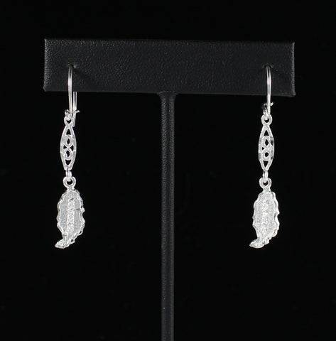Caribbijou Grenada Map Earring Hanging Long in 925 Sterling Silver