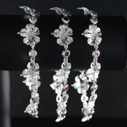 West Indian Chain Bracelet  with Hibiscus Flower and Colored Stones - Handmade in 925 Sterling Silver