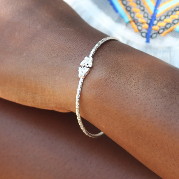 090 West Indian Bangle with Butterfly and Calypso Pattern Handmade in 925 Sterling Silver
