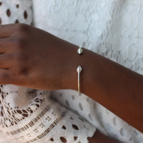090 West Indian Bangle with Cocoa Pods Plain Handmade in 925 Sterling Silver