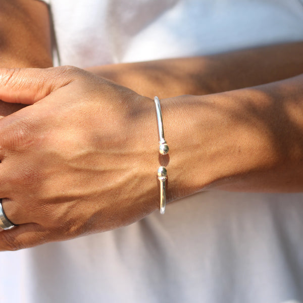 110 West Indian Bangle with Solid Ball Plain Bangle Handmade in 925 Sterling Silver