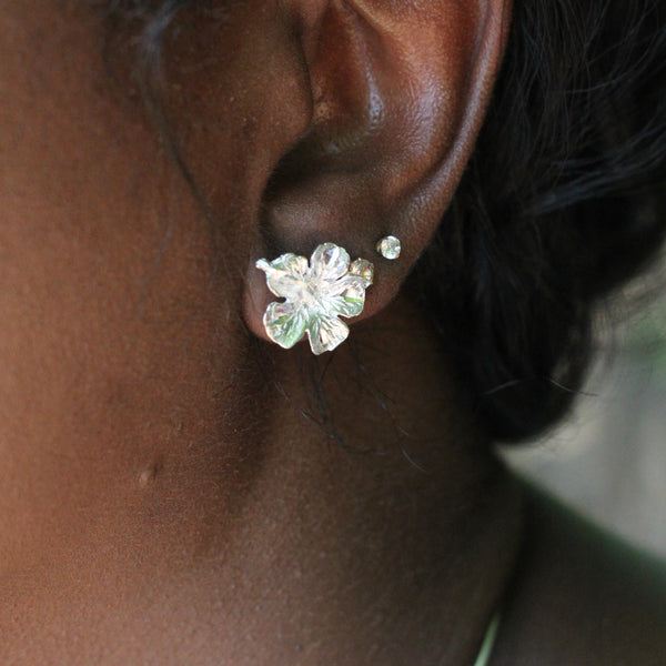 Caribbean Large Hibiscus Flower Stopper Stud Earring in Sterling Silver