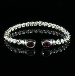 Braided Flexible West Indian Bangle with Lab Created Garnet January Birthstone Handmade in 925 Sterling Silver