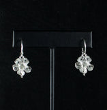 Large Hibiscus Flower Earring Hanging Short in 925 Sterling Silver