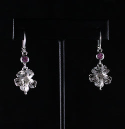 Large Hibiscus Flower with Pink Stone October Birthstone Earring Long in 925 Sterling Silver
