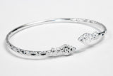 110 West Indian Bangle with Snakes Calypso Pattern Handmade in 925 Sterling Silver