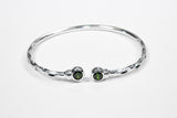 125 West Indian Bangle with Synthetic Emerald May Birthstone Handmade in Sterling Silver