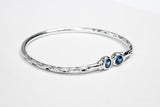 125 West Indian Bangle with Synthetic Sapphire September Birthstone Handmade in Sterling Silver