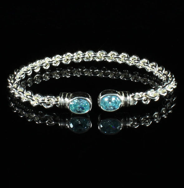 Braided Flexible West Indian Bangle with Lab Created Aquamarine March Birthstone Handmade in 925 Sterling Silver