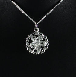 Medium West Indian Hibiscus Flower in Ornate Circle Pendent in 925 Sterling Silver