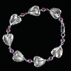 West Indian Chain Bracelet  with Anthurium Flower and Pink CZ Stones - Handmade in 925 Sterling Silver