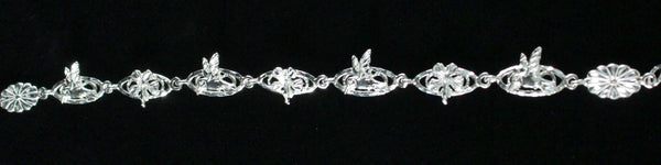 West Indian Chain Bracelet with Humming Bird & Hibiscus Flower - Handmade in 925 Sterling Silver