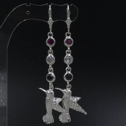 Large Humming Bird with Trinidad and Tobago Flag Colors: Red, Black and White stones long Earring in 925 Sterling Silver