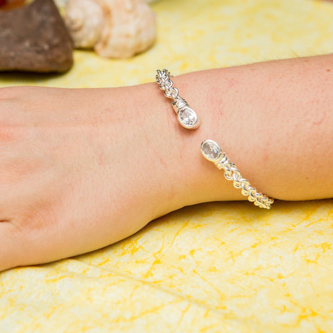 Braided Flexible West Indian Bangle with Lab Created White CZ April Birthstone Handmade in 925 Sterling Silver