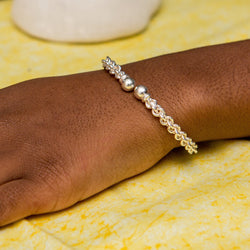 Braided Flexible West Indian Bangle with Small Solid Balls Handmade in 925 Sterling Silver