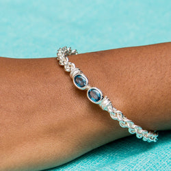 Braided Flexible West Indian Bangle with Lab Created Blue CZ December Birthstone Handmade in 925 Sterling Silver