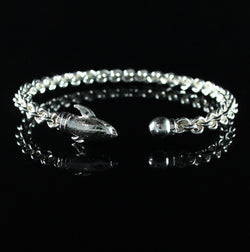 Braided Flexible West Indian Bangle with Dolphin and Ball Handmade in 925 Sterling Silver