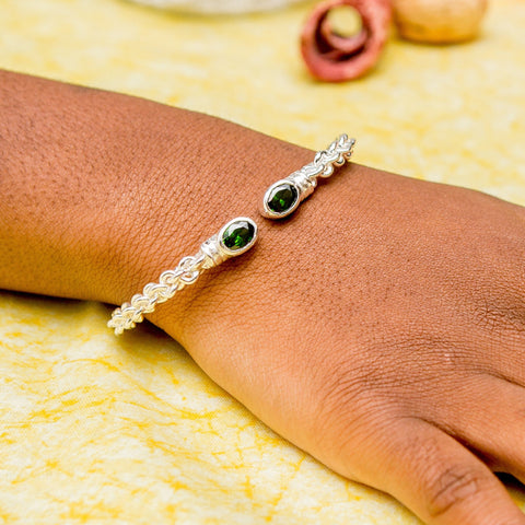 Braided Flexible West Indian Bangle with Lab Created Emerald May Birthstone Handmade in 925 Sterling Silver