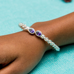 Braided Flexible West Indian Bangle with Lab Created Amethyst February Birthstone Handmade in 925 Sterling Silver
