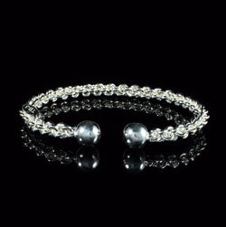 ***Clearance*** Braided Flexible West Indian Bangle with Large Solid Balls Handmade in 925 Sterling Silver
