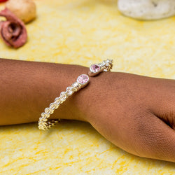 Braided Flexible West Indian Bangle with Lab Created Pink CZ October Birthstone Handmade in 925 Sterling Silver