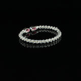 Braided Flexible West Indian Bangle with Lab Created Ruby July Birthstone Handmade in 925 Sterling Silver