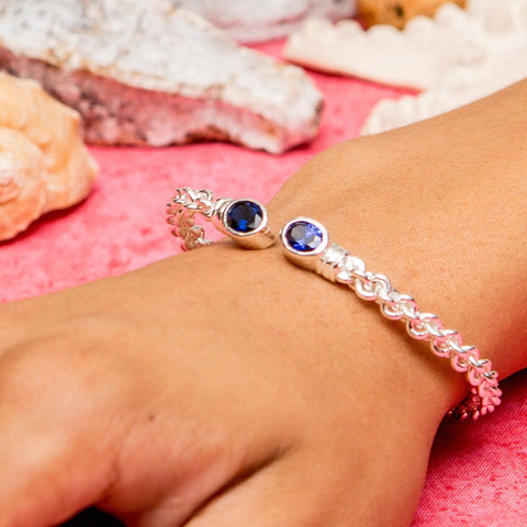 Braided Flexible West Indian Bangle with Lab Created Sapphire September Birthstone Handmade in 925 Sterling Silver