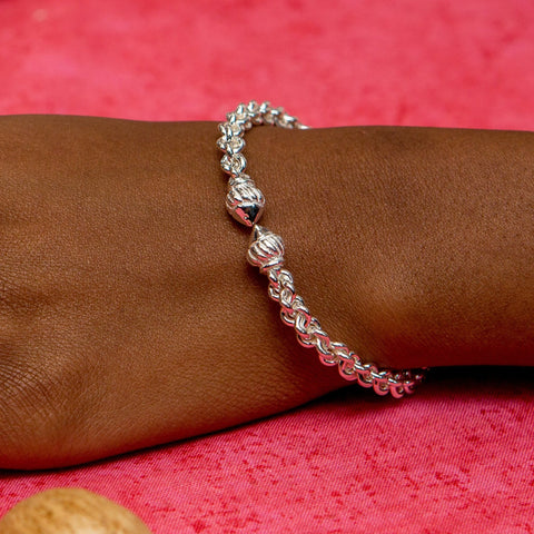 Braided Flexible West Indian Bangle with Taj Mahal Handmade in 925 Sterling Silver