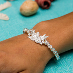 Braided Flexible West Indian Bangle with Humming bird and Hibiscus Clasp Handmade in 925 Sterling Silver