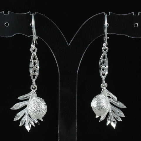 Tropical Breadfruit with Extender Bar Hanging Long Earring in 925 Sterling Silver