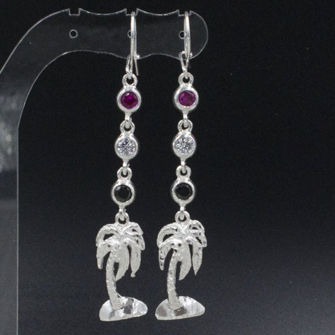 Coconut Tree with Trinidad & Tobago Flag Color stones: Red, Black and White long Earring in 925 Sterling Silver